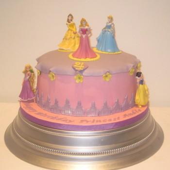 One Tier Disney Princess Birthday Cake