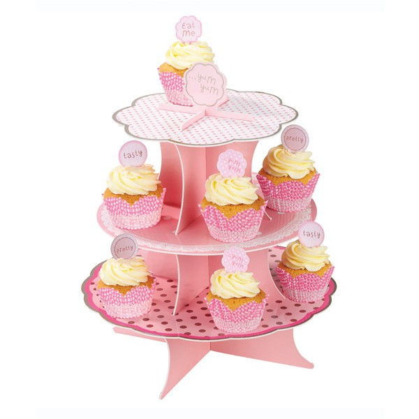 Pretty pink 3 tier cup cake stand neo cakes for Pretty cake stands