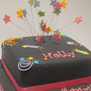 One Tier Firework Birthday Cake
