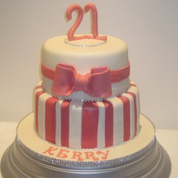 Two Tier Girl 21st Birthday Cake